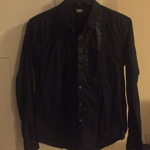 Black Leather patch shirt